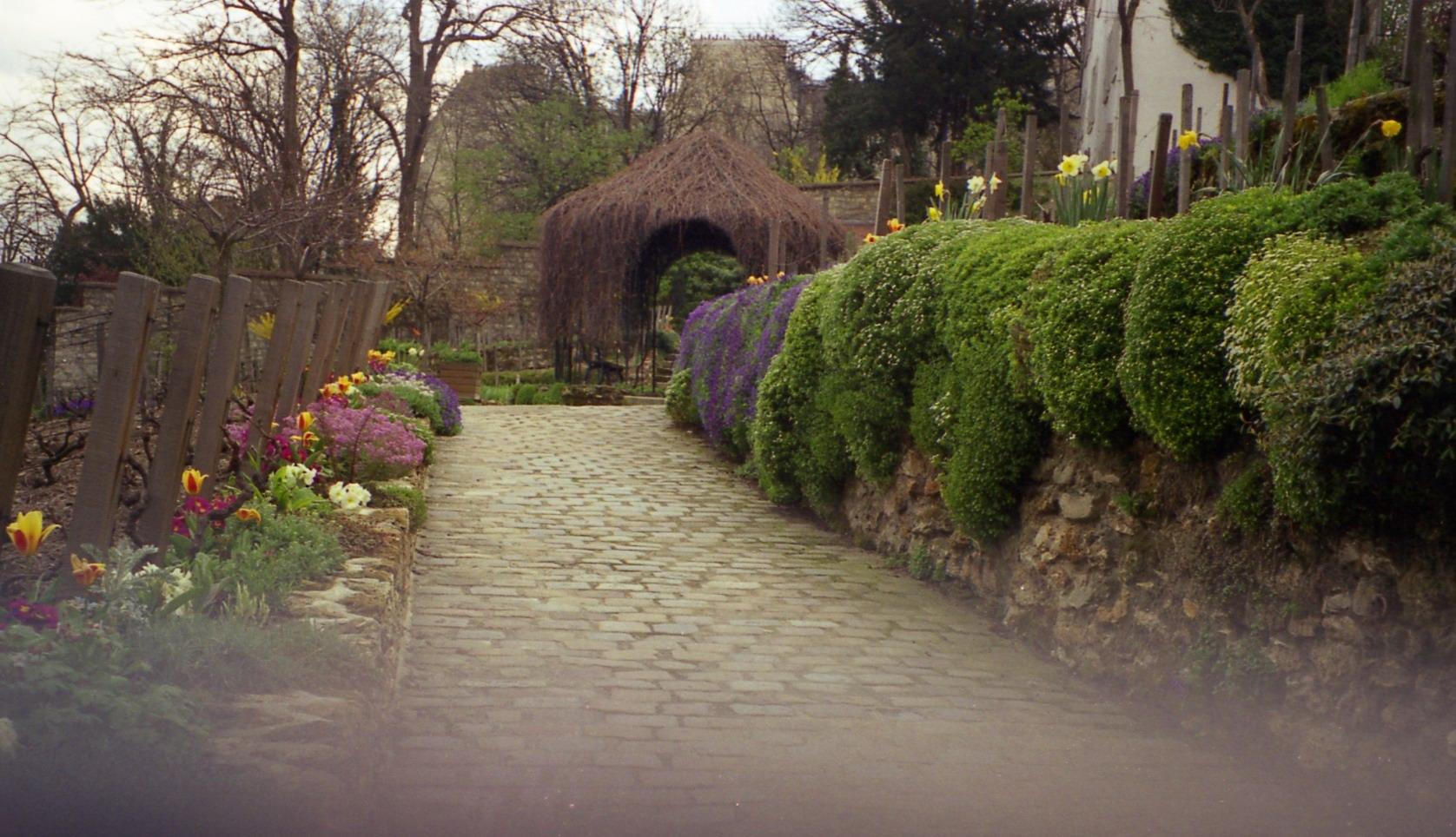 Garden near agile rabbit house in montmartre paris france